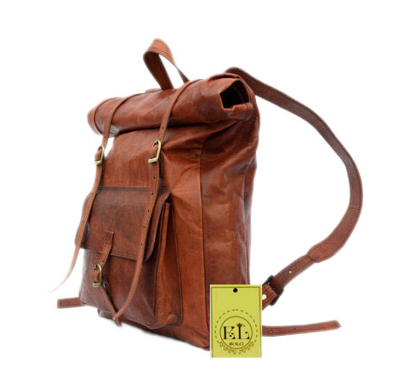 Leather Roll Top Backpack - El Solo